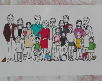 Family, Illustrations on order, for example based on a family photo