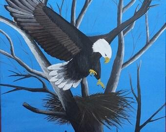 Eagle on tree painting .91 cm x 61 cm