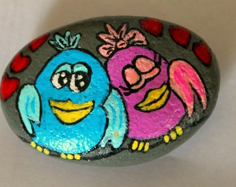 Love birds painted rock paperweight
