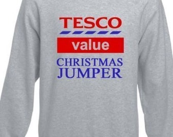 Ladies and Mens 'TESCO VALUE' Christmas Jumper - Funny gift or present, cosy! Novelty (J1001)
