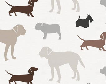 Brown and Gray Dogs Organic Fabric - By The Yard - Boy / Girl / Gender Neutral