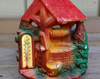 Vintage Chalkware Wishing Well Thermometer