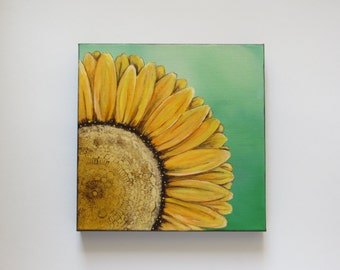 Sunshine, acrylic painting, sunflower painting, original painting, modern sunflower, flower painting, canvas painting, yellow sunflower