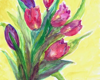 Sunny Bouquet Of Tulips, original watercolor, FRAME, FREE SHIPPING