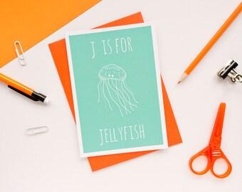Jellyfish Card / Animal Alphabet Card / Sea Card / Nautical Card / Jellyfish Birthday Card / Animal Alphabet / Notecard / Animal Card