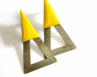 Ear Jackets Brass Mustard Yellow Geometric Industrial Front and Back Earrings FREE UK SHIPPING