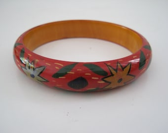 Vintage 1970s Wood Painted Floral Cuff Bracelet - Bangle - Red Multi Color - Hippie Woodstock Boho
