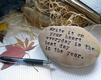 Write It On Your Heart Emerson Quote Natural Engraved Smooth River Stone Paperweight
