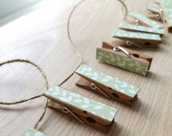 Baby Shower Clothesline Gift - Vintage Green Feathery Branches - Chunky Mini Clothespin Clips w Twine for Display - Set of 12 - Country Chic
