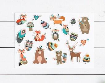 Tribal Animal Sticker Pack- 21 Stickers, Planner, Journal, Snailmail
