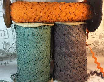 Ric Rac  - Harvest Color Ric Rac Trim - Vintage Ric Rac - New Old Stock - Brown Loden Green Orange Cotton Ric Rac Trim - N03
