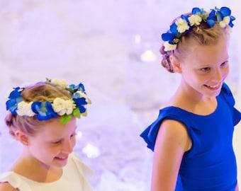 TERRI - Blue & White Flower Headband or Crown