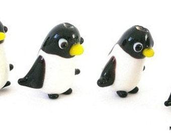 Penguin beads, 3 cute penguin beads, lampwork glass penguin beads