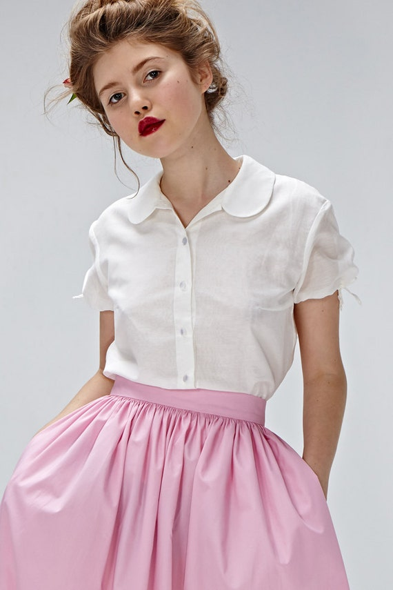 White White collar clothing shirt Button Princess Round blouse Tailored blouse Plus sleeves up blouse shirt size blouse ArwnFSqA1