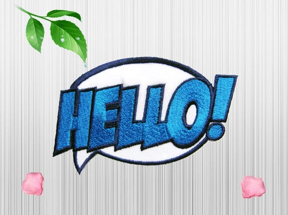Hello patch sayings patch pop art patches applique embroidered