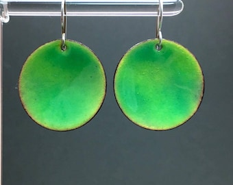 Vivid lime green enamel disks full moon spheres by Paulbead torch fired enamels geometric jewelry colorful earrings BFF gifts for Mom women