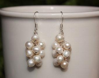 White Pearl Dangle Earrings, Gold or Silver, Freshwater Pearl Earrings, Cascading Waterfall Pearl Earrings, Lightweight, Free Shipping