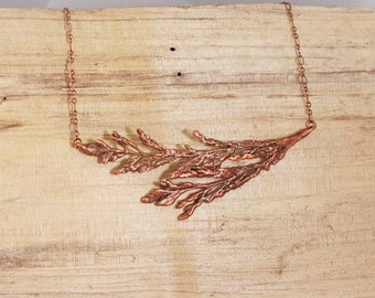 Electroformed Real Pressed Broom Grass Copper Necklace C24