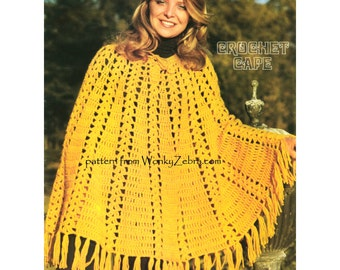 Crochetable Cape Poncho Crochet PDF Vintage Pattern 932 from WonkyZebra