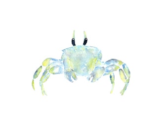 Watercolor painting, watercolor animals, watercolor nursery, nursery animal art, crab painting, beach art, beach print, tropical - 10X8