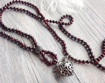 Silver harmony ball garnet necklace knotted bola chime ruby gemstone necklace rose flower pendant necklace gift for her friend pregnant