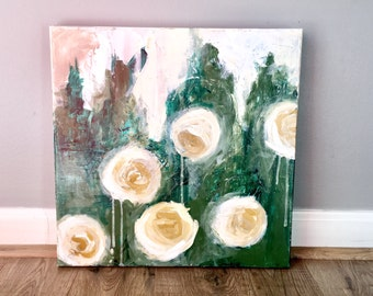 abstract flower painting, abstract roses, rose painting, abstract art, acrylic painting