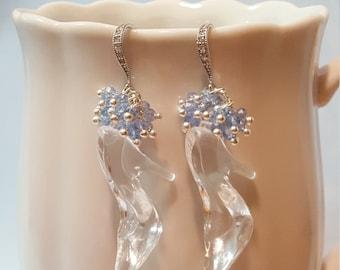 "Cinderella Earrings - Princess Earrings - Fairytale Wedding - Cinderella Jewelry - Glass Slipper Earrings - Big ""Glass"" Slipper Charms E5329"