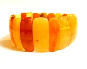 """Baltic Amber Bracelet Butterscotch Natural Yolk Antique Beaded 8"""" 20.7 gram"""