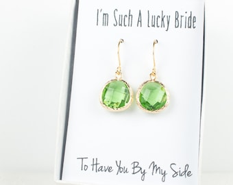 Peridot Gold Earrings, Gold Green Earrings, Green Wedding Jewelry, Bridesmaid Gift, Bridesmaid Earrings, Green Bridal Accessories