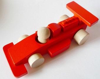 Wooden Formula 1 Racing Red Car