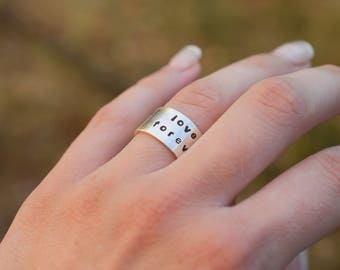 Personalized Wide band sterling silver ring, 10 mm sterling silver ring with custom text , wide band silver ring