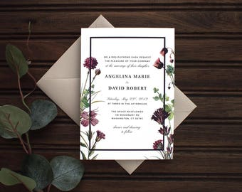 Purple Wildflower Wedding Invitation Suite - Floral Wedding Invitation Suite