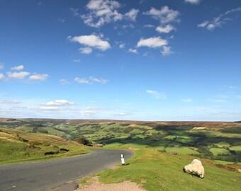 Rustic Road Trip Adventure Art Print, Nature Photography Moors Green Blue Landscape Sheep Wall Art Wall Decor British