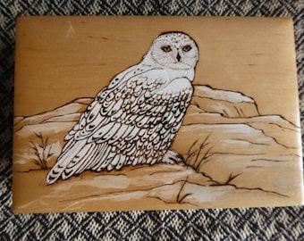 Snowy Owl Box My original art Hand carved Hand painted Artisan made Pyrography by Rita Ferrara
