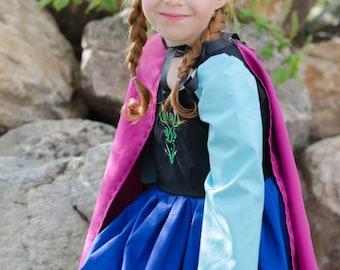 Cute Anna Frozen Inspired Snow Princess Costume Dress ice queen, scandinavian, pretend play, dress-up, halloween, birthday, christmas gift