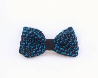 blue switchable bow tie, man and woman
