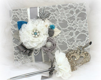 Wedding Lace Guest Book Charcoal Gray Ivory Teal Signing Pen Signature Book Vintage Style Book for Guests