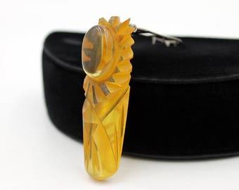 Apple Juice Bakelite Dress Clip, Deeply Carved, Bakelite Jewelry