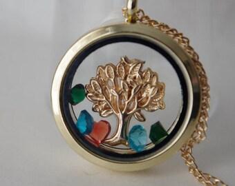 Family Tree Locket Floating Locket Tree of Life Locket Floating Memory Locket Personalised Neclace Family Tree Jewelry Mother's Day Grandma