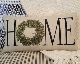 HOME pillow, Boxwood wreath, Magnolia theme, Farmhouse decor, Farmhouse pillow