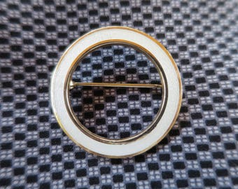 Vintage Circle Brooch White Enamel on Guilloche Brooch Gold Tone Finish Kiln Fired Enameled White Eternity Infinity Circle Pin