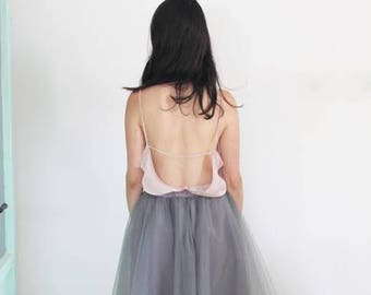 Grey tulle skirt / Gray tutu skirt / Grey party skirt  / midi tulle skirt / Grey Bridesmaid skirt / layered tulle skirt / adult tutu