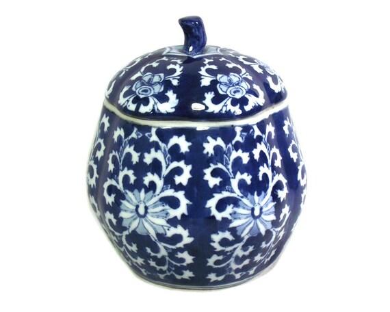 """8"""" Vintage Blue and White Pumpkin Ginger Jar"""