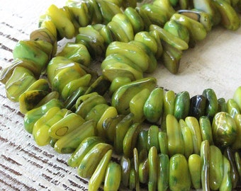 Dyed Mother of Pearl Chips Beads -Jewelry Making Supplies - 8 Inch Strand (about 100 pieces) 8-12mm - Olive Green
