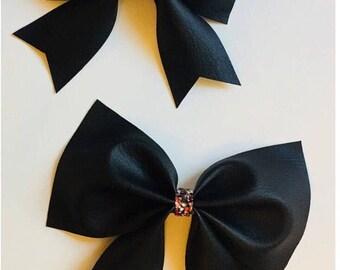 Black leather hair bow, black hair bow,alligator clip hairbow, sparkly cute hairbow
