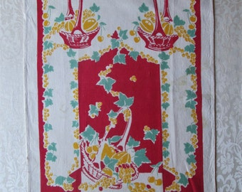 Vintage Tea Towel Red Yellow 1940s Kitchen Linens Fruit Baskets Dish Cloth Hand Towel Table Runner Vintage Linens