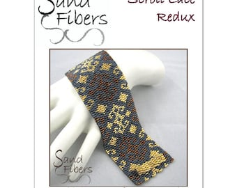 Peyote Pattern -  Scroll Lace Redux Peyote Cuff / Bracelet  - A Sand Fibers For Personal/Commercial Use PDF Pattern