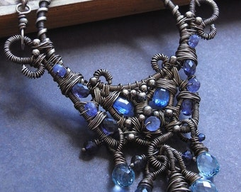 Necklace - RESERVED for professor - sterling silver, oxidised, kyanite, tanzanite, iolite, topaz , ornate, wire wrapped, pendant, artisan, opulent, neckpiece - Calypso