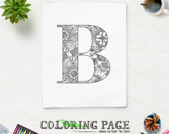 SALE Coloring Page Printable Alphabet With Flower Motif Instant Download Digital Art Pages Adult Therapy Zen