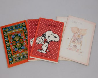 Five Vintage Bridge Score Pads, Snoopy, Precious Moments, Hallmark, US Playing Card Company